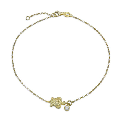 Nautical CZ Turtle Anklet Ankle Bracelet 14K Gold Plated Silver