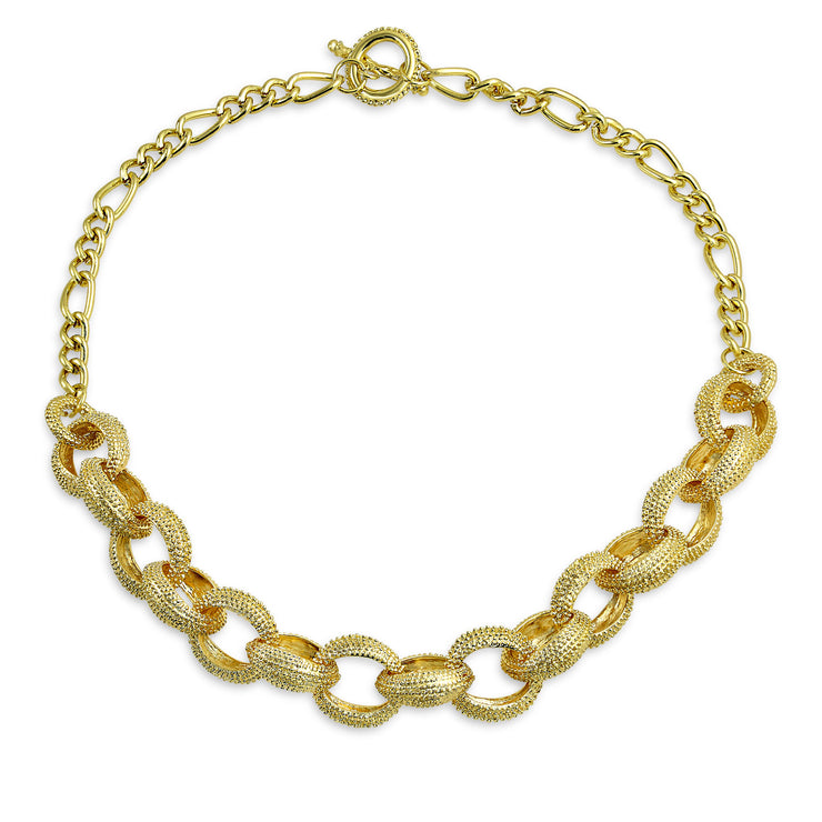 Round Chain Fashion Statement Chain Necklace Yellow Gold Plated