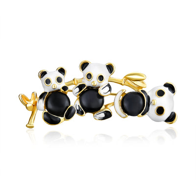 Panda Bear Trio Black White Enamel Animal Brooch Pin Gold Plated