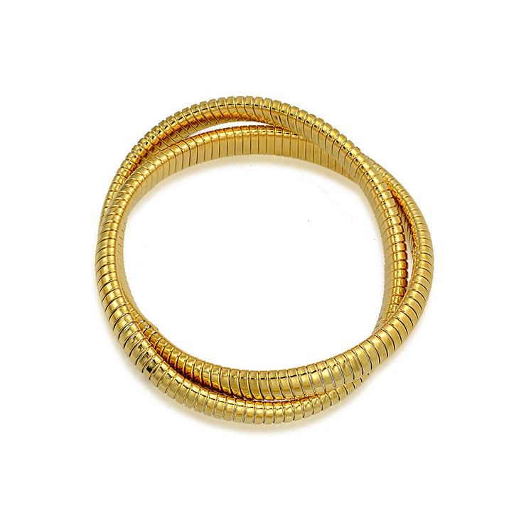Omega Cobra Bangle Stretch Bracelet Gold Plated Stainless Steel