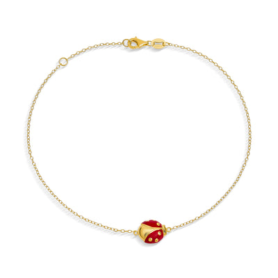 Red Ladybug Anklet Ankle Bracelet Gold Plated 925 Sterling Silver