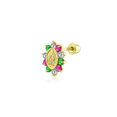 CZ Virgin Mary Cartilage Ear CZ Flower Stud Earring 14K Gold Screwback