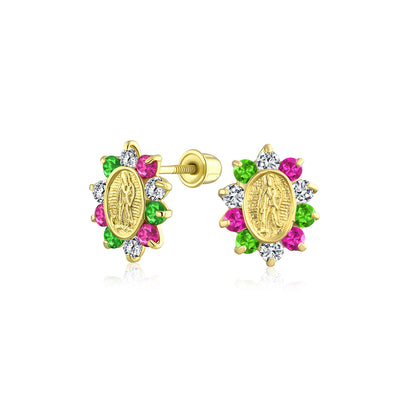 14K Yellow REAL Gold Red Green Red CZ Virgin Mary Stud Earring