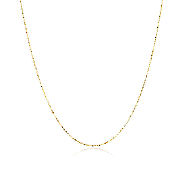 Singapore Chain 020 Gauge Necklace 14K Gold Plated Sterling Silver
