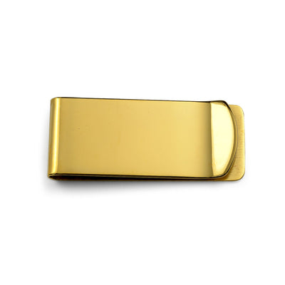 Money Clip Plain Engravable Credit Card Gold Plated Stainless Steel