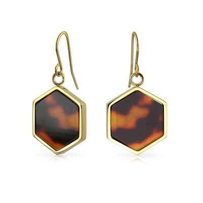 Hexagon Brown Tortoise Drop Earrings 14K Gold Plated Stainless Steel