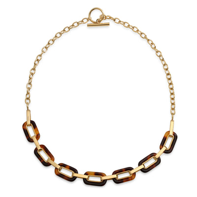 Brown Oval Tortoise Necklace Toggle 14K Gold Plated Stainless Steel