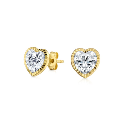 REAL 14K Yellow Gold Heart Cubic Zirconia Textured CZ Stud Earrings