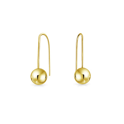 Minimalist Drop Ball Threader Earrings For Women Real 14K Yellow Gold