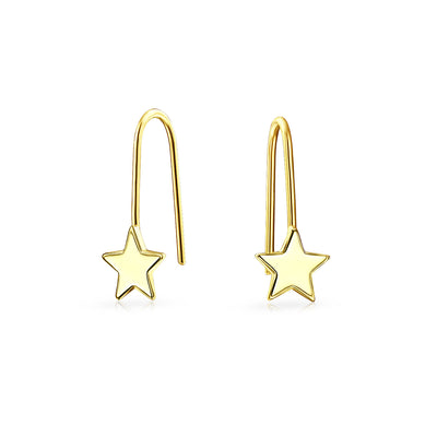 Celestial Patriotic Rock Star Threader Earrings Real 14K Yellow Gold