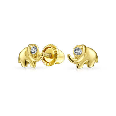 Minimalist CZ Lucky Elephant Stud Earrings Real 14K Gold Screwback