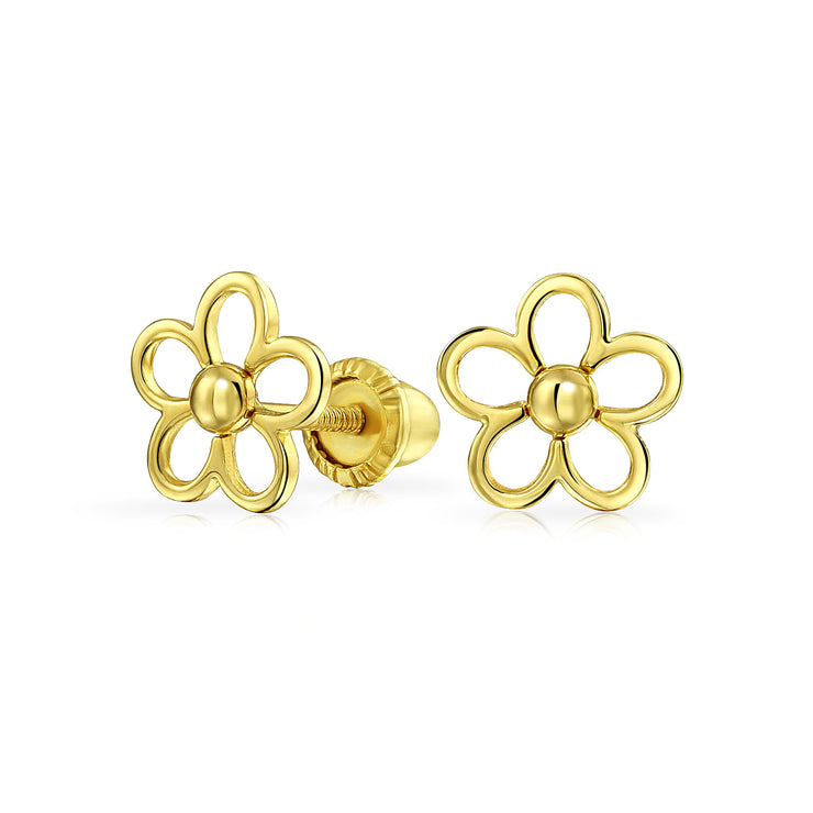 Minimalist Daisy Flower Stud Earrings Real 14K Yellow Gold Screwback