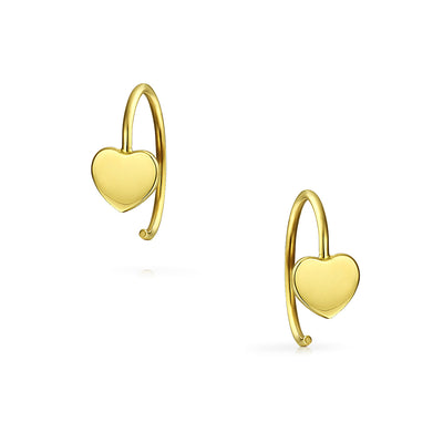 Minimalist Heart Shaped Threader Earrings Women Real 14K Yellow Gold