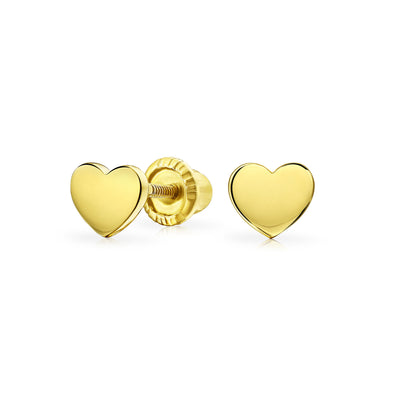 Minimalist Heart Shaped Stud Earrings Real 14K Yellow Gold Screwback