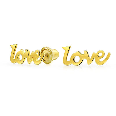 Tiny LOVE Word Stud Earrings Women Real 14K Yellow Gold Screwback