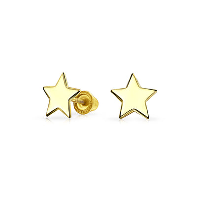 Celestial USA Patriotic Star Stud Earrings 14K Yellow Gold Screwback
