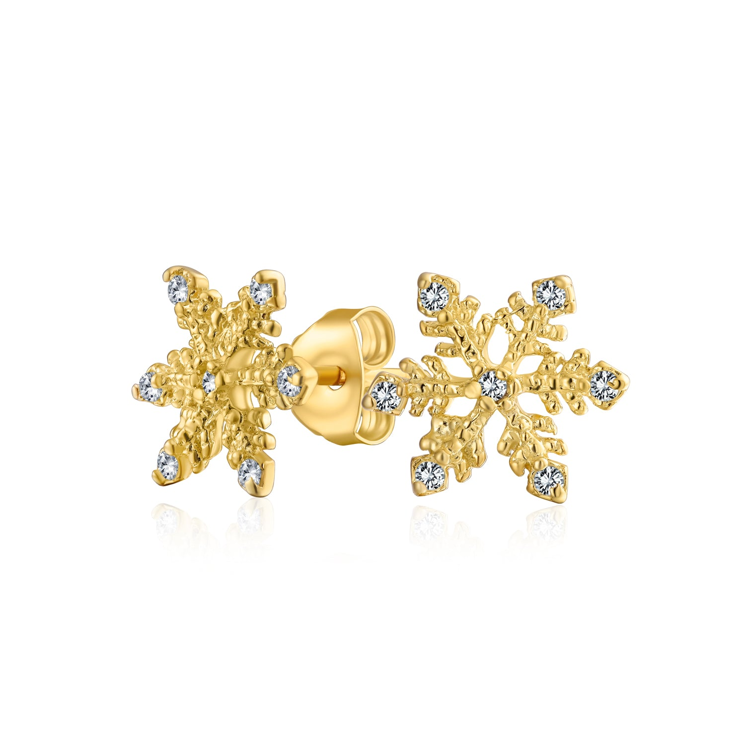 Glittery Snowflake Stud Earrings 925 Sterling Silver or Silver Plated Studs