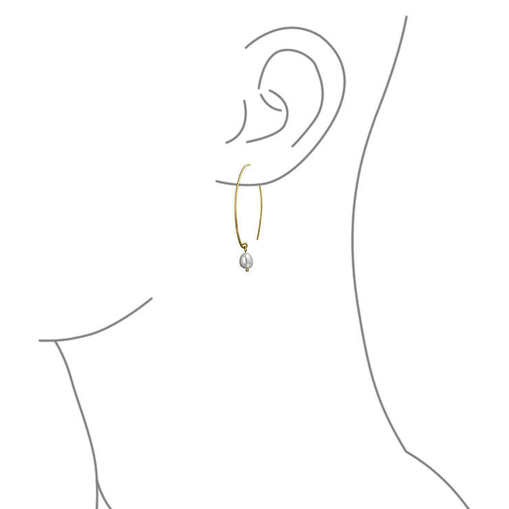 Freshwater Pearl Wire Threader Earrings 14K Gold Plated Sterling