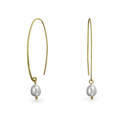 Freshwater Pearl Wire Threader Earrings Gold Plated Sterling