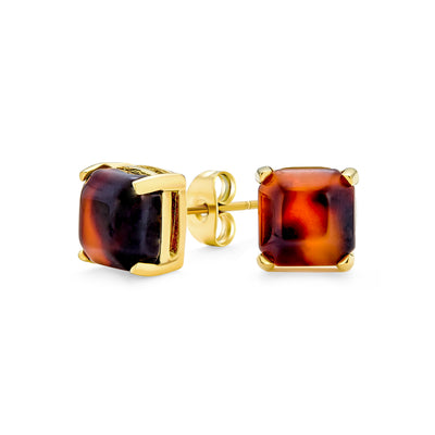 Brown Cushion Tortoise Stud Earring Gold Plated Stainless Steel