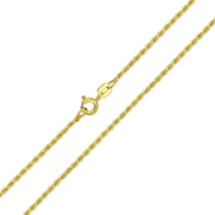 Rope Chain 30 Gauge Necklace Gold Plated 925 Sterling Silver
