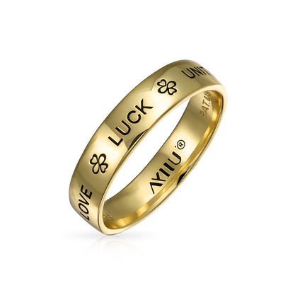 Ayllu Heart Infinity Clover Wedding Band Ring Gold Plated 925 Silver