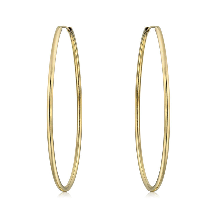 Minimalist Endless Continuous Thin Hoop Earrings 18K Gold Plate 2 Inch