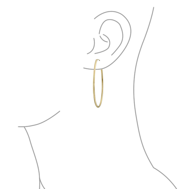 Minimalist Endless Continuous Thin Hoop Earrings Gold Plated 2 Inch