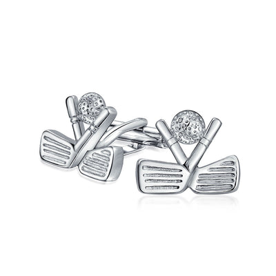 Golf Clubs Ball Golfer Sports Coach Shirt Cufflinks Stainless Steel