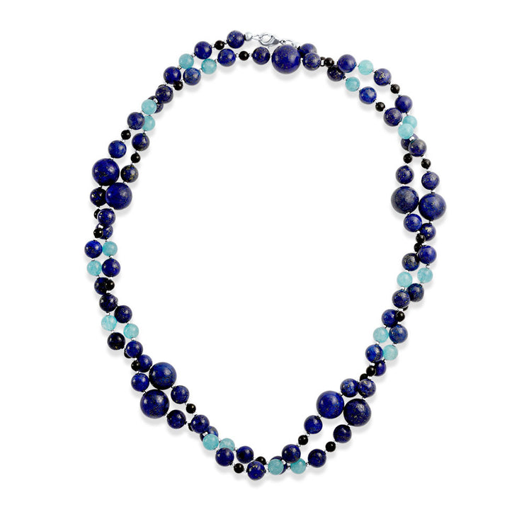 Blue Shades Aqua Quartz Lapis Black Onyx Ball Bead Strand Necklace
