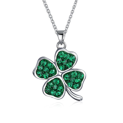 Celtic Clover Green Shamrock Pendant Charm Necklace Sterling Silver