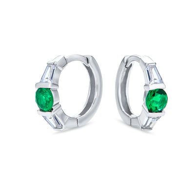 Green CZ Baguette Hoop Earrings Imitation Emerald Sterling Silver