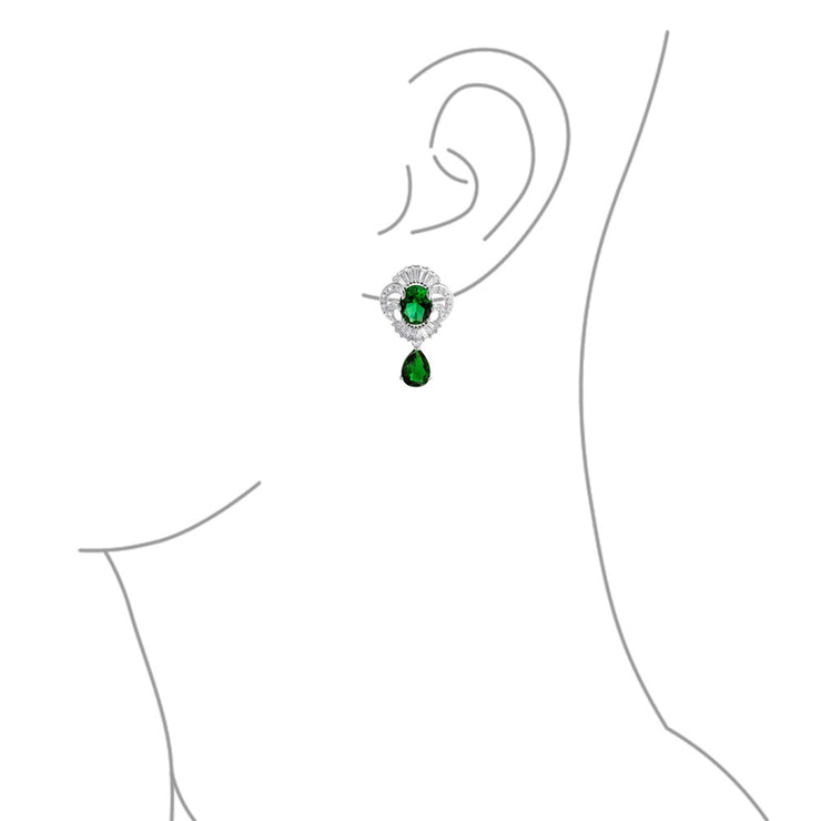 Green CZ Tear Imitation Emerald Statement Earring Necklace Set Silver