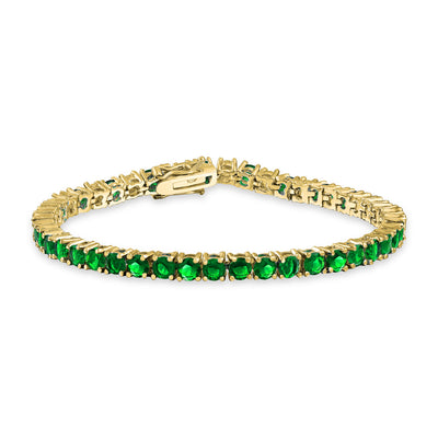 Green Imitation Emerald AAA CZ Tennis Bracelet For Women Gold Plated