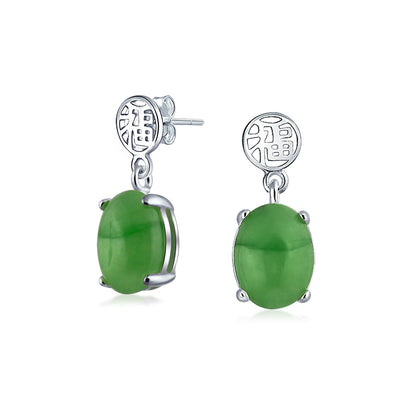 Asian Style Green Jade Chinese Good tune Drop Earrings Sterling Silver
