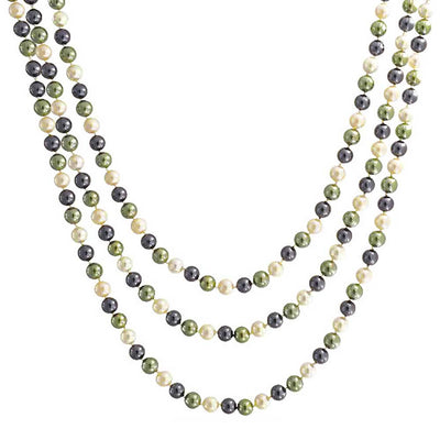Multicolor Peacock Brown Pearl Long Endless Layering Necklace