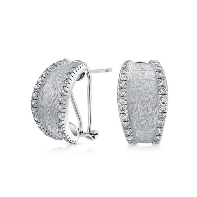 Matte Hammered Shrimp Half Hoop Earrings Pave Edge CZ Silver Plated