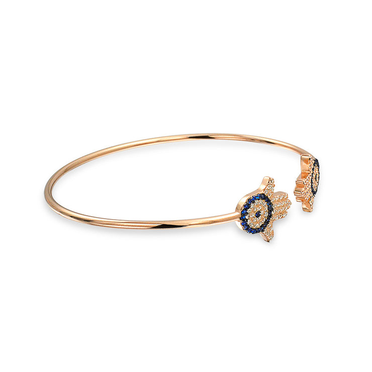 Hamsa Hand Evil Eye Bangle Cuff Bracelet Rose Gold Plated Sterling