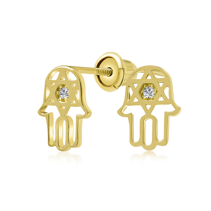 CZ Hamsa Star Of David Bat Mitzvah Stud Earrings Real 14K Gold