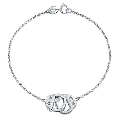 Partner in Crime Handcuff Lock Chain Link Bracelet Sterling Silver