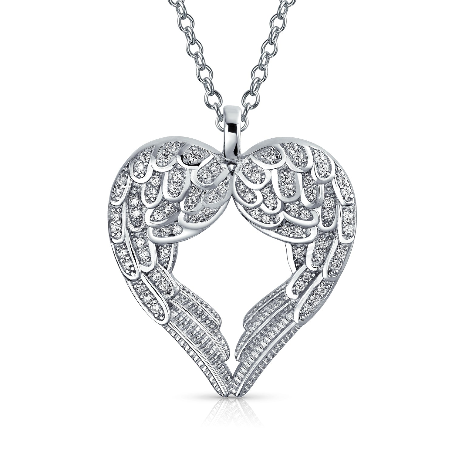 One Size Womens Sterling Silver AAA Cubic Zirconia Mom Double Heart Pendant Necklace Silver