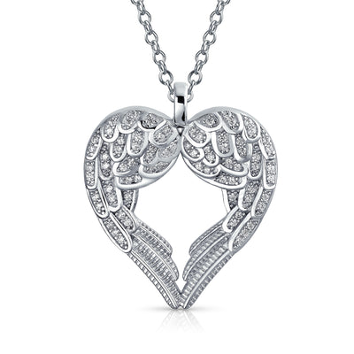 Angel Wing Heart Cubic Zirconia 925 Sterling Silver Pendant Necklace