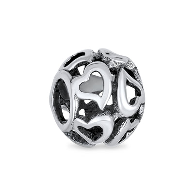 Love Valentine Multi Open Filigree Heart Charm Bead Sterling Silver