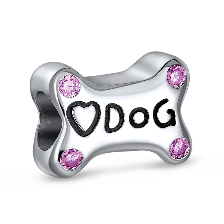 Dog Bone Pink Heart Love Dog Puppy Pet Charm Bead Sterling Silver