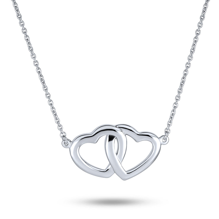 2 Hearts Interlock Mother Daughter Pendant Necklace Sterling Silver