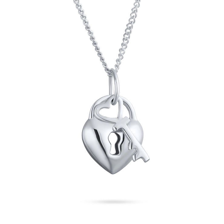 Love Lock Key Heart 2 Charm Pendant 925 Sterling Silver Necklace 16 In