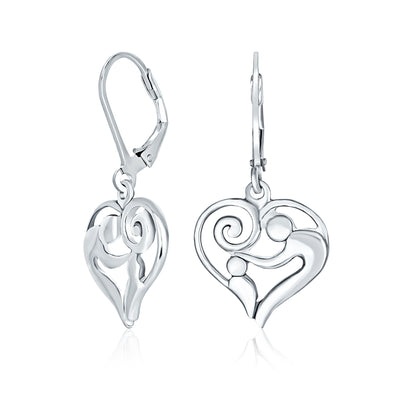 Heart Mother Loving Child Dangle Earrings New Mother Sterling Silver