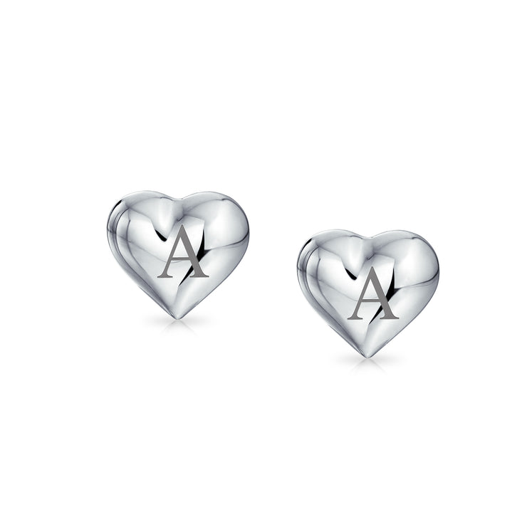 Small Love Heart Puffed Stud Earrings Shinny 925 Sterling Silver 8MM