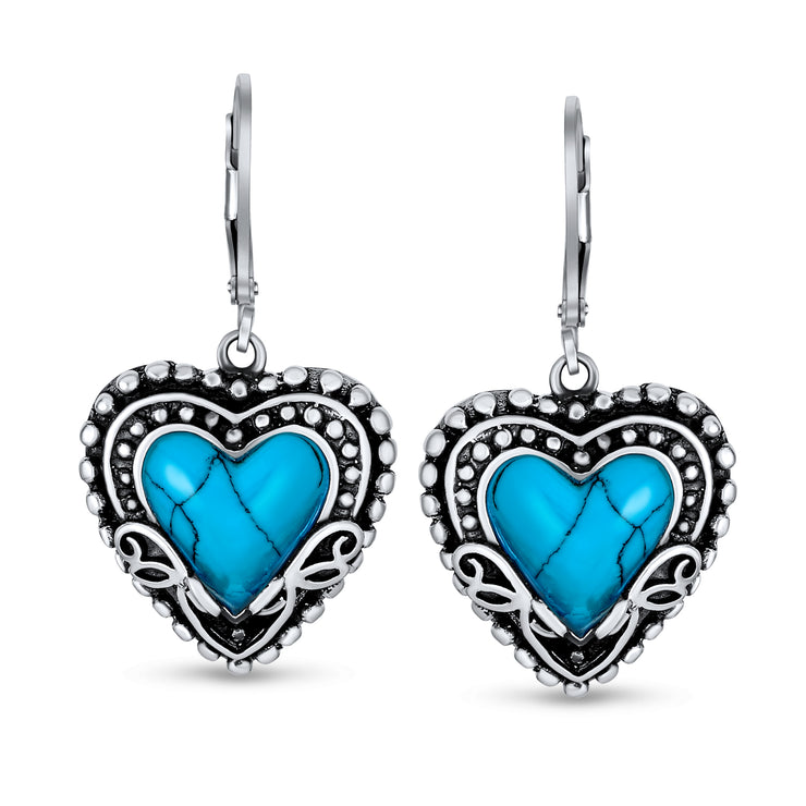 Turquoise Heart Shape Leverback Drop Earrings 925 Sterling Silver
