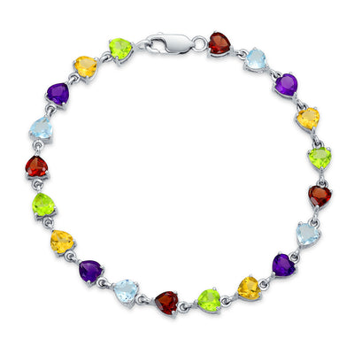 Heart Shaped Multi Gemstone Tennis Bracelet Sterling Silver 7 Inch
